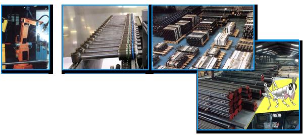 Robot et machine de fabrication de vérins hydrauliques, stock de vérins et Stock de matière premiere : tubes, tiges en acier.